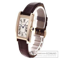 CARTIER【カルティエ】 アメリカンSM タンク 腕時計 K18ピンクゴールド/クロコダイル/クロコダイル レディース