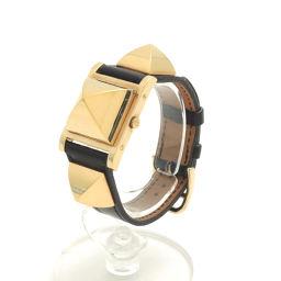 HERMES【エルメス】 メドール ピラミッド スタッズ 腕時計 レザー レディース