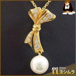 MIKIMOTO【ミキモト】 リボンモチーフ ネックレス /真珠/ダイヤモンド レディース