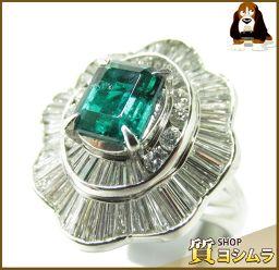 SELECT JEWELRY【セレクトジュエリー】 ノンオイル リング・指輪 Pt 900/エメラルド/ダイヤモンド レディース