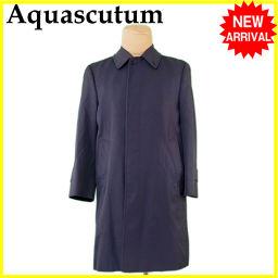 Aquascutum【アクアスキュータム】 アクアスキュータム Aquascutum コート ロング メンズ シングル ステンカラー ネイビー PE 67%C 33%(裏地)VS 100% 人気 【中古】 J14659 その他  メンズ