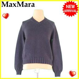 MAX MARA【マックスマーラ】 マックスマーラ MaxMara ニット セーター レディース ウィークエンドライン Vネック ダークグレー C63%PE37% 人気 セール 【中古】 J16113 セーター  レディース