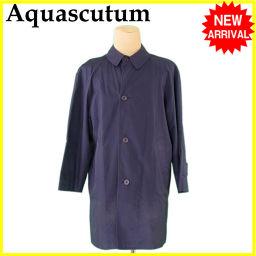 Aquascutum【アクアスキュータム】 アクアスキュータム Aquascutum コート ロング メンズ シングル ステンカラー ネイビー 綿/100%(裏地)レーヨン&綿 人気 セール 【中古】 J16236 ロングコート  メンズ