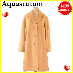 Aquascutum【アクアスキュータム】 アクアスキュータム Aquascutum コート ロング レディース ♯10サイズ シングルボタン ベージュ アンゴラ100%(裏地)レーヨン100% 人気 セール 【中古】 J16292 ロングコート  レディース