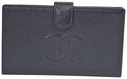 CHANEL【シャネル】 がま口付き長財布 がま口付き長財布 長財布(小銭入れあり) キャビアスキン レディース