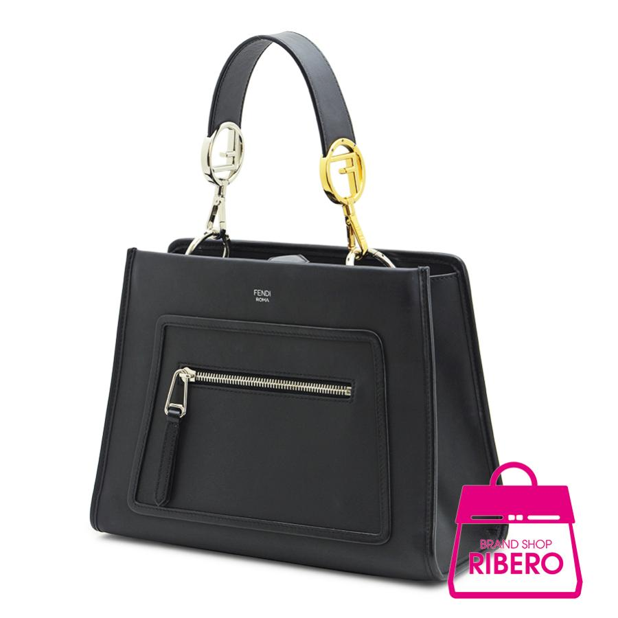 831cff709c60 Fendi Runaway Small 2 Way Handbag Leather Black 8 BH 344 A ー The best place  to buy Brand Bags Watches Jewelry
