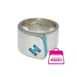Hermes candy ring H Mark # 49 Silver 925 Blue degree A USED