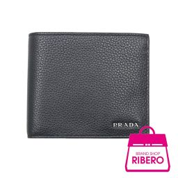 プラダ サフィアーノ トロ 2つ折り 財布 カーフ ネイビー/ブルー バイカラー 2MO738