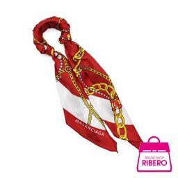 バレンシアガ スカーフ ブレスレット ブラスバングル レッド系×ゴールド金具 490839 程度SA USED