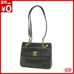 Chanel chain shoulder bag black G fittings