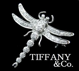 "TIFFANY & Co. ""Tiffany"" Pt 950 Diamond Dragon Fly Brooch with Dragonfly Case"