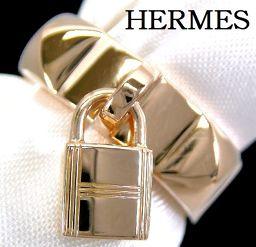"HERMES ""HERMES"" 750 (K18 PG) COLEDOCian Ring # 49 with Kelly Pink Gold"
