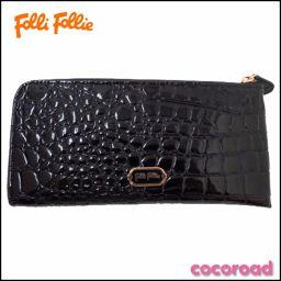 美品 Folli Follie(フォリフォリ)ロゴ L時型長財布 BK WA2P039K【Ce野々市店】