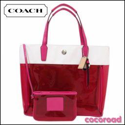 美品 COACH(コーチ)トートバッグ ビーチクリアトートバッグ F29263 ピンク×ホワイト【Ce野々市店】