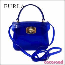 美品 Furla(フルラ)ハンドバッグ 2Wayキャンディ バッグ ブルー【Ce野々市店】