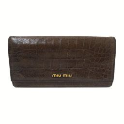MIUMIU(ミュウミュウ)長財布 クロコ型押し 二つ折り長財布 BR