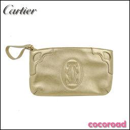 Cartier(カルティエ)マストライン ポーチ レザー メタリックゴールド[ce]【中古】