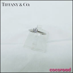 Skønhedsprodukter TIFFANY & Co. (Tiffany) ring Pt950 platin diamant single grain ring Størrelse # 10.5 0.25ct 3.5g med certifikat