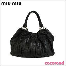 MIUMIU(ミュウミュウ)ハンドバッグ レザー ブラック[ce]【中古】