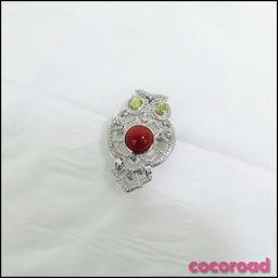 サンゴ ダイヤモンド0.24ct ふくろう ブローチ K18WG[ce]【中古】