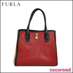 FURLA(フルラ)バイカラー ハンドバッグ レッド系[ce]【中古】