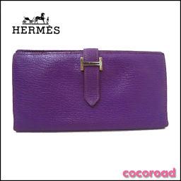 HERMES(エルメス)二つ折り財布 ベアンスフレ シェーブル □D刻印 二つ折り長財布 カシス【Ce野々市店】