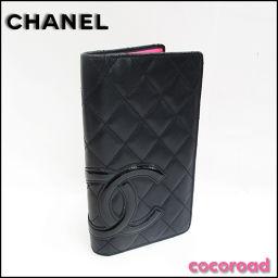 CHANEL(シャネル)カンボンライン 二つ折り長財布 黒×ピンク[ya]【中古】