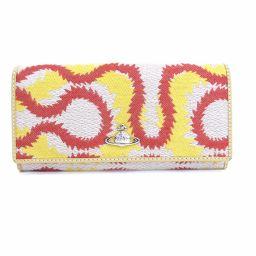 Vivienne Westwood(ヴィヴィアン・ウエストウッド)長財布 スクイグル 刺繍 レザー オーブ ベージュ