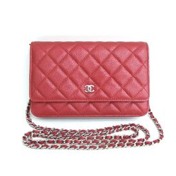 Beauty goods CHANEL (Chanel) Chain wallet Matrasse Coco mark caviar skin A33814 diagonal shoulder bag Pochette wallet