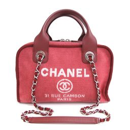 Beauty goods CHANEL (Chanel) Deauville bowling bag handbag chain shoulder 2 WAY Coco mark canvas leather red ladies