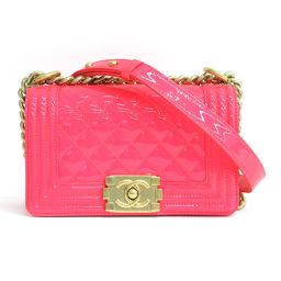 New same CHANEL (Chanel) Boy Chanel chain shoulder bag Coco Mark patent leather neon color fluorescent pink gold ladies