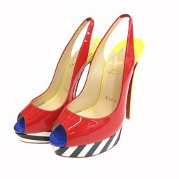 Beauty goods Christian Louboutin (Christian Louboutin) back strap pumps open toe pin heel platform 35.5 22.5 multi color