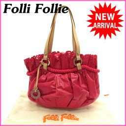 (良品) フォリフォリ/Folli Follie/ハンドバッグ/ギャザー入り/ミニサイズ/レディース/ロゴリング