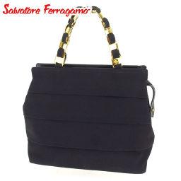 Salvatore Ferragamo Salvatore Ferragamo Handbag Chain Bag Women's Valar Hardware Black Gold Canvas × Leather Popular Sale [Pre] C3164