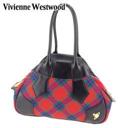 ヴィヴィアン ウエストウッド Vivienne Westwood ハンドバッグ  メンズ可  オーブ レッド ブラック キャンバス×レザー 人気 セール 【中古】 C3173