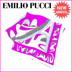 エミリオ・プッチ EMILIO PUCCI スカーフ レディース プッチ模様 ピンク×パープル 100%シルク激