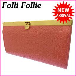 (激安・即納) フォリフォリ/Folli Follie/長財布/がま口/ファスナー/レディース/ロゴ/ピンク×ゴ
