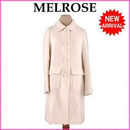 メルローズ MELROSE コート 両サイドポケット付き レディース ♯4サイズ シングル アイボリー 人気 良品 【中古】 H540 .
