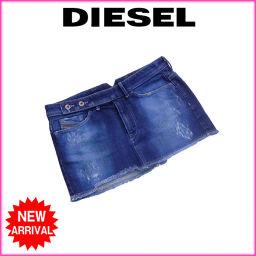 ディーゼル DIESEL スカート マイクロミニ レディース ♯25サイズ ダメージ加工 ペイントデニム ウォッ