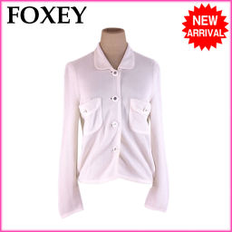 (人気 激安) フォクシー/FOXEY/カーディガン 胸ポケット付き レディース サイズ40 衿付き/ホワイト×