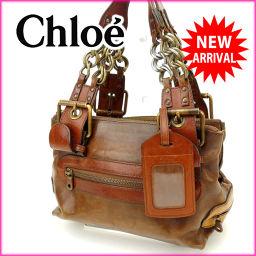 クロエ Chloe ショルダーバッグ チェーンショルダー ライトブラウン レザー人気 良品【中古】 J3712