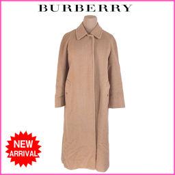 バーバリー BURBERRY コート シングル ロング丈 レディース ♯Lサイズ ステンカラー ベージュ 毛/1