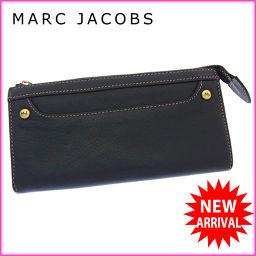 マークジェイコブス MARC JACOBS 長財布 ファスナー レディース ロゴボタン付き カラーステッチ ブラ