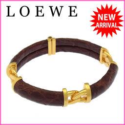 ロエベ LOEWE ブレスレット バングル アクセサリー メンズ可 クロコダイル調 ゴールド×ブラウン ゴールド
