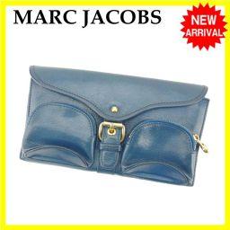 マークジェイコブス MARC JACOBS 長財布 三つ折財布 レディース ブルー レザー激安 セール【中古】