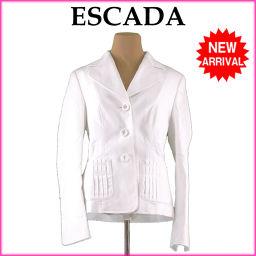 エスカーダ ESCADA ジャケット 3つボタン レディース ♯38サイズ タックポケット ホワイト C/81%