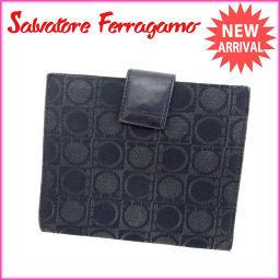 サルヴァトーレフェラガモ Salvatore Ferragamo 二つ折り財布 コンパクトサイズ メンズ可 ガン