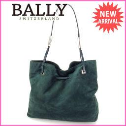 バリー BALLY ショルダーバッグ トートバッグ メンズ可 ロゴプレート ダークグリーン×シルバー スエード×