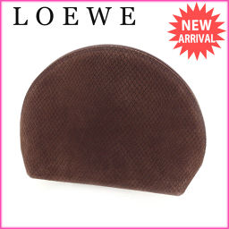 ロエベ LOEWE ポーチ 化粧ポーチ メンズ可 ラウンドフォルム パイソン調 ブラウン×ゴールド 型押しスエー