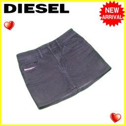 ディーゼル DIESEL スカート ミニ レディース ♯28サイズ ブラックデニム ブラック C/98%ET/2% 良品 【中古】 L1233 .